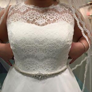 NWT Wedding dress, belt, slip, corset bra